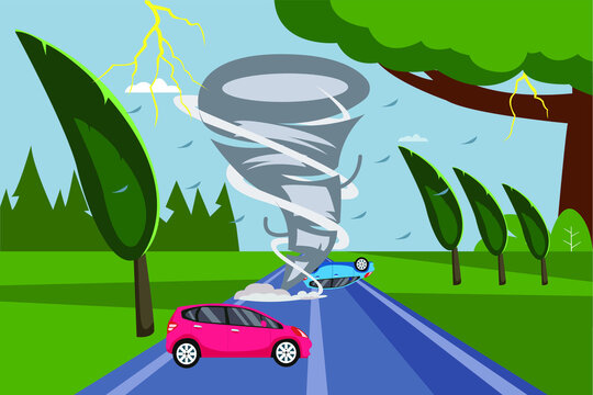 Tornado disaster vector concept: hurricane throwing cars at the palm tree field
