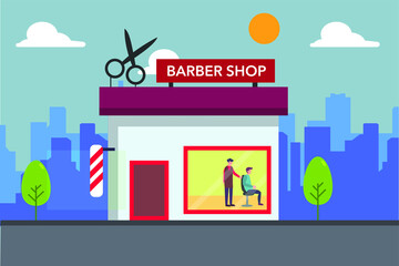 Barber shop front shop vector concept  over the city buildings background