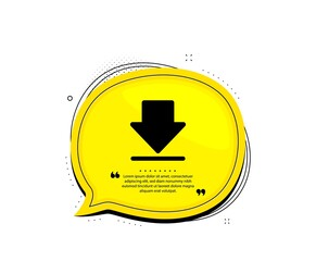 Download icon. Quote speech bubble. Internet Downloading sign. Load file symbol. Quotation marks. Classic downloading icon. Vector