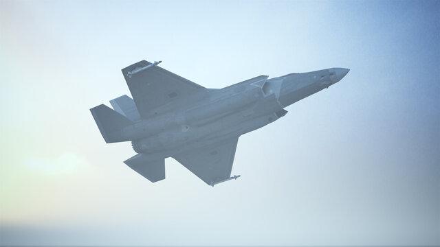 Strike Fighter Jet Aircraft Flying Low Sunrise Sunset 3d illustration 3d render
