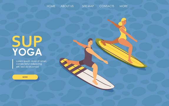 Landing page isometric guy and girl doing sup yoga on surfboard. 3d concept illustration
