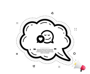Comic speech bubble with Smile icon. Quote speech bubble. Chat emotion with heart sign. Quotation marks. Classic dating icon. Vector