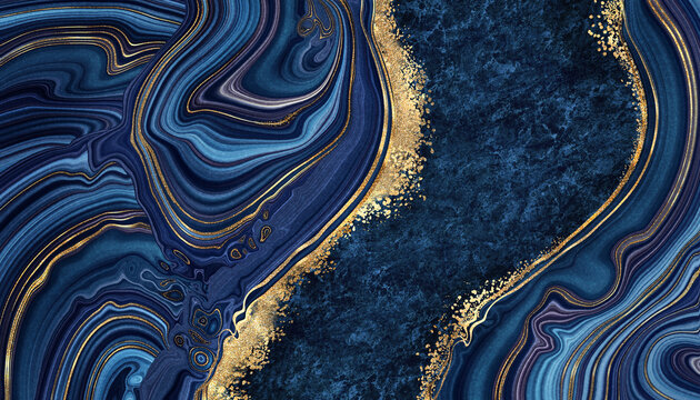abstract background blue marble agate granite mosaic with golden veins, japanese kintsugi technique, fake painted artificial stone texture, marbled surface, digital marbling illustration