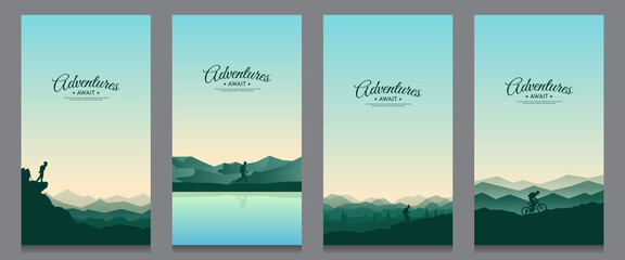 Tuinposter Grijs Vector landscape set. Travel concept of discovering, exploring and observing nature. The guy watches nature, riding at mountain bike, climbing to the top, going hike. Design for flyer, invitation