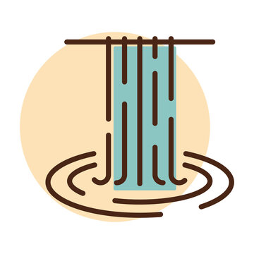 Waterfall of natural vacation vector icon