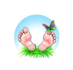 Fuß Füße Fußsohlen barfuß Kind blau Himmel Wiese Gras natürlich freundlich hübsch Schmetterling Mann Frau Junge Mädchen liegen ausruhen reisen Urlaub Ferien nachhaltig fernreise genießen Auszeit