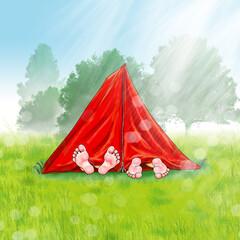 Zelt in rot Füße schauen barfuß heraus, Freizeit Ferien Camping Zelten Urlaub Outdoor Kinder Morgen Frau Paar Übernachtung Nacht schlafen ausruhen genießen alternativ sleeping tent barefeet boy