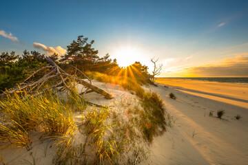 Fototapeta Zachód słońca na plaży nad morzem obraz