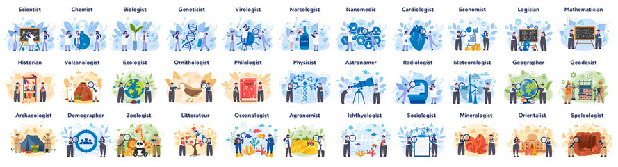 Big scientist profession concept illustration. Idea of scientific research