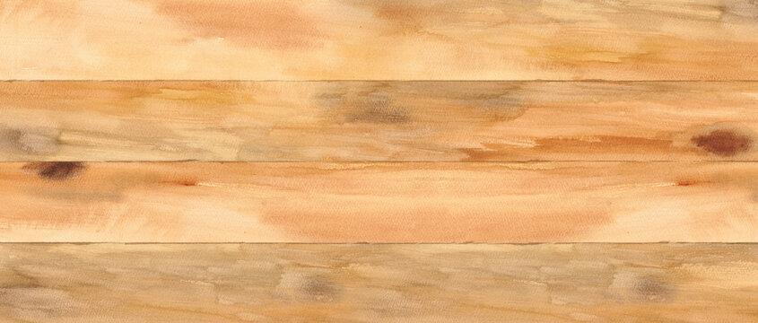 木の板を合わせた床や天板、壁。木目の背景。水彩テクスチャ。