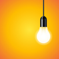 Wall Mural - light bulb on yellow background