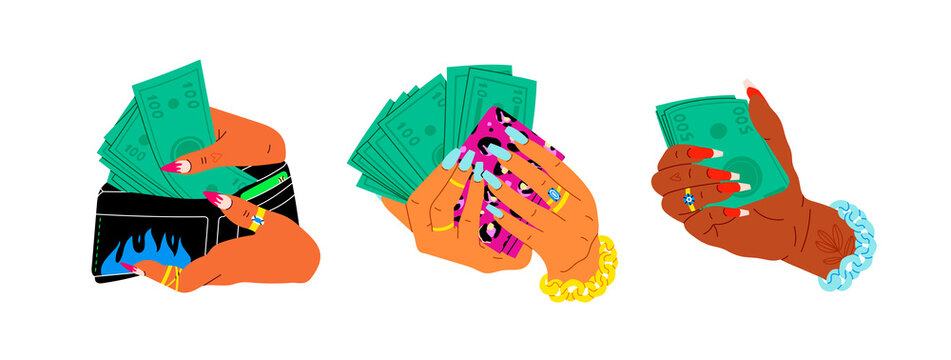 Women's hands are holding stack of green Money. Cool manicure, rings and golden chain. Cash in hand. Close up look. Cartoon style. Hand drawn Vector set. Every illustration is isolated