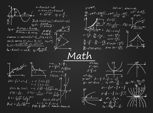 Vintage education and scientific background. Set from math law theory, formulas and equations on blackboard. Vector hand-drawn mathematical illustration.