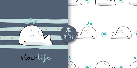 Cute whale drawings Hand drawn whale Gestures Colorful face smile in Seamless pattern and illustration