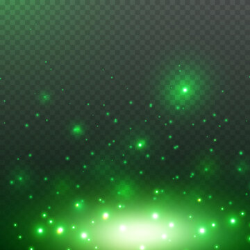 Green glitter particles, shine confetti and glowing lights effect. Vector magic fireflies, fairytale bugs sparkle on night transparent background