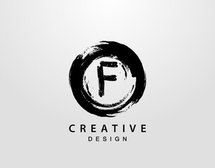 F Logo With Circle Splatter Element. VintageCircle Wave logo design template.
