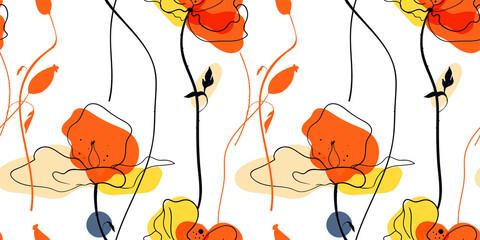 Modèle sans couture de champ de coquelicots jaunes