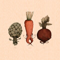 Illustration of vegetables doing yoga