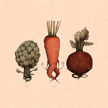 Illustration of vegetables doing yoga
