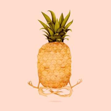 Illustration of pineapple doing yoga