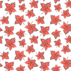 Seamless texture, square, pattern - autumn waltz. Falling leaves of different sizes. A five-leaf. Maple leaf. Figure for the background of the site or blog, textiles, packaging, wallpaper. Vector