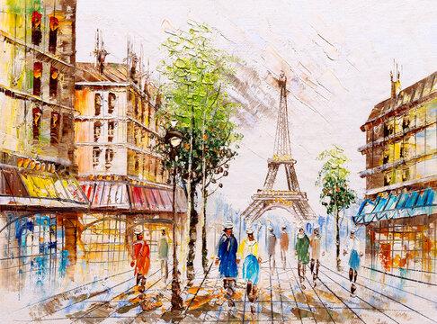 Oil Painting - Street View of Paris