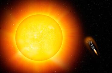 Wall Mural - Parker Solar Probe approaching the sun
