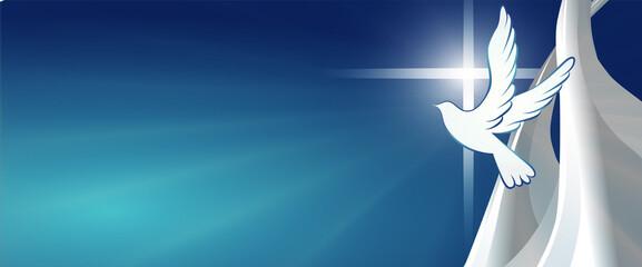 Fototapeta Dove whit christian cross symbol. Crucifix. Blue background with bright rays. Easter. Symbol of purity. Faith. Baptism. Holy Spirit. Evangelization. Resurrection. Banner obraz