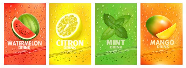 Set of labels with fruit drink. Fresh fruits juice splashing together- watermelon, citron, mint, mango juice drink splashing. Vector.
