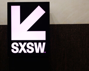 AUSTIN, TEXAS - MARCH 11, 2019: SXSW South by Southwest Annual music, film, and interactive conference and festival. Austin Convention Center, SXSW symbolic poster