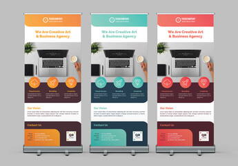 Roll-Up Banner Layout with Colorful Accents