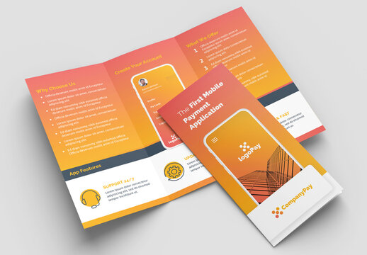 Trifold Brochure Layout with Orange Gradient Accents and Mobile Phone Illustrations