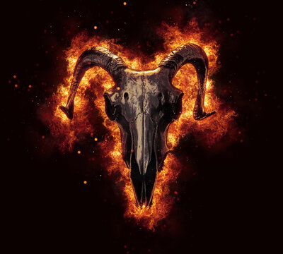 Dark ram skull engulfed in flames and fire