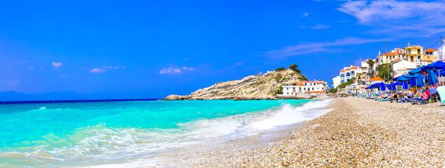 Greece travel. Most beautiful village and beaches of Samos island - Kokkari. Popular tourist destination
