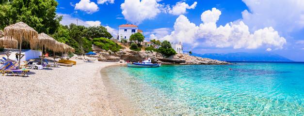Greece. Idyllic beautiful beaches of Samos island - beautiful Limnionas with turquoise sea