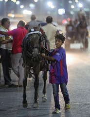 A boy holds his horse after a horse cart race, following the outbreak of the coronavirus disease (COVID-19), in Cairo