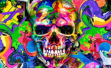 abstract colorful background with colorful skull