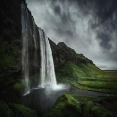 Seljalandsfoss waterfall in South Iceland. Beautiful nature landscape