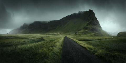 South Iceland beautiful nature dramatic landscape. Panorama view. Color toned filter
