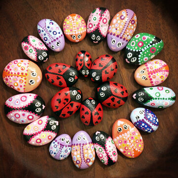 Painted Kindness Rocks Decorated like Colorful Bugs in a Circular Design