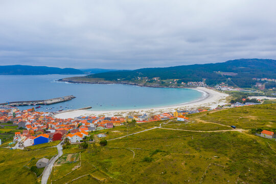 Aerial view of Laxe town and beach in Galicia Spain