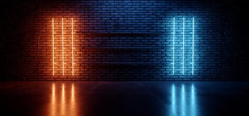 Photo sur Plexiglas Echelle de hauteur Retro Neon Cyber Laser Fluorescent Blue Orange Tube Lights Glowing On Old Club Night Dance Grunge Brick Wall Cement Concrete Floor Garage Underground Background 3D Rendering