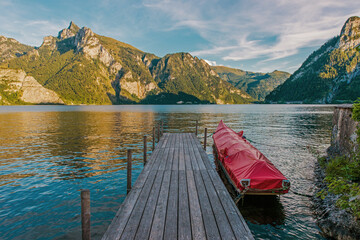 Wall Mural - Wooden Deck on the Scenic Traunsee Lake in the Upper Austria Region