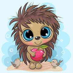 Cartoon Hedgehog with apple on a blue background