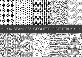 Black and White Hand Drawn Geometric Seamless Pattern Collection