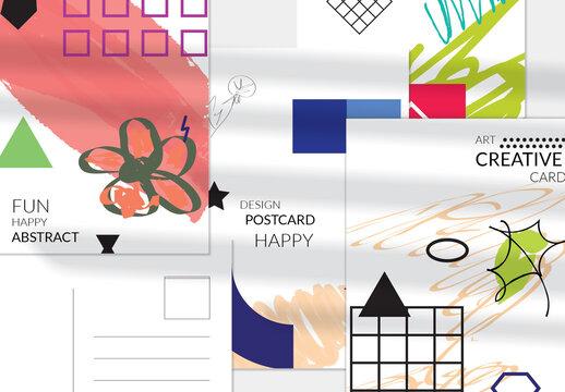 Green Flower on Pink Vertical Postcard Template Layout