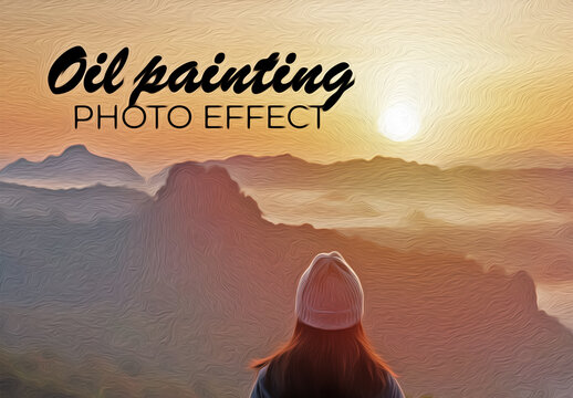 Oil Painting Photo Effect Mockup
