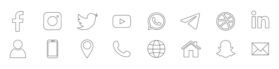 Facebook, Instagram, Twitter, Youtube, Whatsapp, Telegram, Dribbble, LinkedIn, Snapchat - popular social media, messengers, video platform. Business symbols. Kyiv, Ukraine - July 21, 2020
