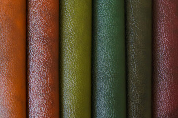 Fototapeta Colorful leather samples as background, close up