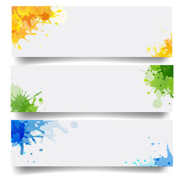 Banners Set With Blobs Isolated White Background With Gradient Mesh, Vector Illustration